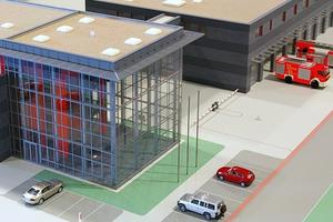 Modellbau Roemer Modellfoto Feuerwache Muelheim